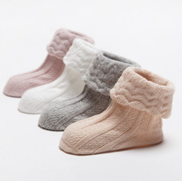 Wholesale Newborn Ankle Socks - Baby cotton knit socks toddler kids stripe knitting ankle socks newborn infant non-slip soft socks autumn winter kids warmer legs R1686