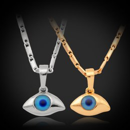 Wholesale Beaded Items - 2014 Cool Items Mini Evil Eye Pendant Necklace 18K Real Gold Plated Rhinestone Necklaces & Pendants Women Men Jewelry P236