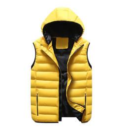 Wholesale Men S Down Vest Jackets - Fashion Men's Vest Winter Men Brand Hooded Vest Male Fashion Cotton Waistcoat Jacket and Coat Warm Vest