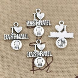 Wholesale baseball necklace charms silver - 80pcs Charms i love baseball 21*19mm Antique,Zinc alloy pendant fit,Vintage Tibetan Silver,DIY for bracelet necklace