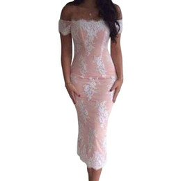 Wholesale Embellishments For Dresses - FREE SHIPPING 2016 New Sexy Fashion Casual Pink Lace Embellishment Off Shoulder Midi Dress For Women One Size NA60462