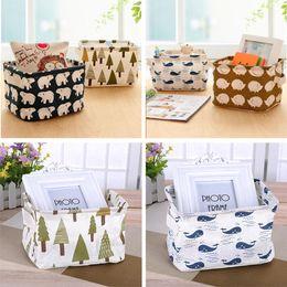 Wholesale Eco Stationery - Wholesale- New Cartoon Linen Desk Storage Box Holder Jewelry Cosmetic Stationery Sundries Organizer Case Cute Animal Tree Decor