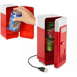 Wholesale Mini Refrigerator Usb - 50pcs lot New Mini USB LED PC Refrigerator Fridge Beverage Drink Cans Cooler Warmer with retail package