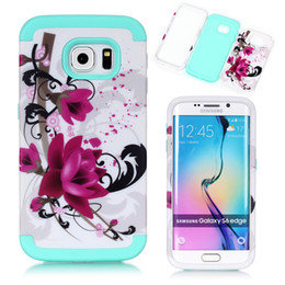 """Wholesale Blue Floral Iphone Cases - For iPhone 5C 6 6s plus 4.7"""" Armor Shockproof Floral Floral Case Cover for Samsung Galaxy S6 Edge G9250 Hybrid Hard Silicone 6plus Cases"""