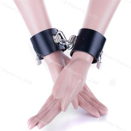 Wholesale Leather Ankle Shackles - Super Heavy Male Female Pu Leather Handcuffs Fetter Shackles Restraint Bondage chains sex toys BDSM Products Newest
