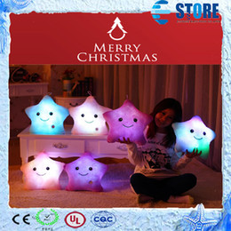 Wholesale Christmas Light Stars For Sale - HOT Sale Colorful LED luminous stars pillow,High quality Plush Cotton Light Star Pillow for Christmas gift toys ,Free shipping,A