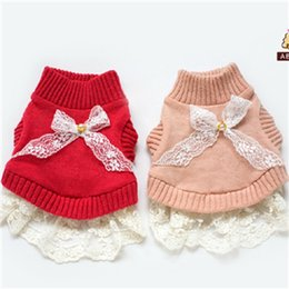 Wholesale Cute Sweaters For Dogs - Wholesale-ABBY Dog Clothes Winter Pure Lamb Wool Lace Coat Cute Sweater Clothes for Dogs AWMY13840