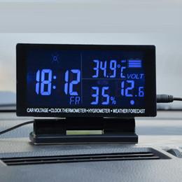 semi di mais all'ingrosso Sconti Schermo LCD di trasporto libero orologio digitale termometro auto igrometro tensione previsioni meteo 12 v
