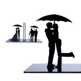 Wholesale Rain Book - Wholesale-Creative couple iron bookends Rain umbrella cartoon book end Fashion Office desktop decoration Book Storage