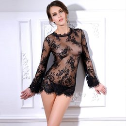 Wholesale Sexy Women See Through Shirts - Sexy Sheer Lace Blouse Shirt Blusas Femininas See Through Top Tee Naughty Lingerie Chemise Women Fashion Outfit