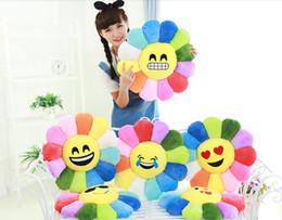 Wholesale Sunflower Cushions - 30CM 50cm Soft Rainbow Sunflower Emoji Smiley Emoticon Round Big Bed Sofa Cushion Stuffed Plush Toy Doll Christmas Present Pillows