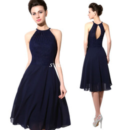 Wholesale Halter Cocktail Dress Navy Blue - 2015 Cheap Short Party Dresses Navy Blue Lace Halter Open Back A Line Chiffon Knee Length Cocktail Prom Dress Sexy Wedding Bridesmaid Dress