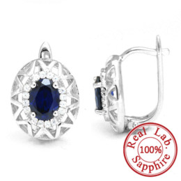 Pendientes de aro de zafiros online-2014 nueva marca de moda 2.5ct gema azul pendientes de zafiro aro para mujeres establece auténtica plata esterlina pura 925 envío gratis