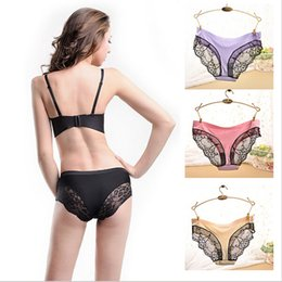 Wholesale Thin Lace Panties Women - 710 Hot Fashion Women Underwear Sexy Fabric Ultra-thin Victoria Comfort Women Panties 8 Color Vintage Briefs for Women