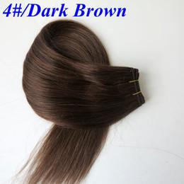 Brezilyalı saç demetleri 100% insan saçı atkı 100g 20 inç # 4 / Koyu Kahverengi Düz saç paketler karışmayan ücretsiz Hindistan saç uzantıları cheap brazilian hair india nereden brezilya saç india tedarikçiler