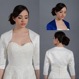 Wholesale Custom Jackets For Cheap - Cheap Satin Bolero Jacket for Party Evening Prom Dresses Bridal Jackets With Sleeves Evening Wraps Royal Blue Ivory Stain Bolero Jacket