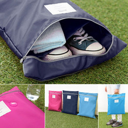 Wholesale Travel Shoe Storage Pouches - Brand New outdoor sports Solid Laundry Shoes Travel Pouch Storage Portable Tote Zipper Waterproof polyester Bag