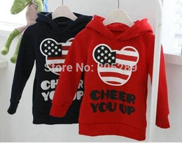 Wholesale Babys Clothes Free Shipping - Wholesale-4pcs girls boys mickey hoody childrens long sleeve red blue flag hoodies babys clothes Sweatshirts free shipping