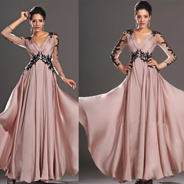 Wholesale Ladies Summer Outfits - 2016 Gorgeous Arabic Kaftan Blush Pink Prom Dresses Illusion Long Sleeves Lace Applique Party Evening Dresses Ball Gown Lady Formal Outfits