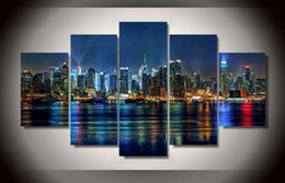 Wholesale City Decorations - 5 Panel Framed Printed new york city Painting on canvas room decoration print poster picture canvas living room wall decor paint