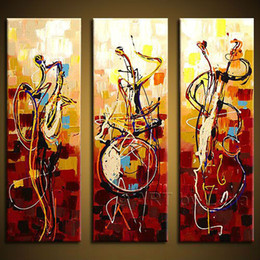 Wholesale Three Panel Canvas Art Sets - Free shipping Hand painted wall art Abstrac Home decoration play instruments Oil Painting on canvas 3pcs set without Framed