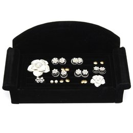 Wholesale Ring Display Sofa - New Earring Ring Jewelry Display Unique Sofa Design Velvet Black Rose Red Organizer Box Tray Holder Case For Women