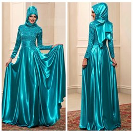 Wholesale Muslin Long Dress - Arabic A-Line Muslin Evening Dresses High Neck Lace Appliques Beaded Long Sleeves 2018 Elegant Prom Gowns