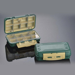 Wholesale Tackle Boxes For Sale - New sturdy waterproof 16 grid hook storage box abs dark green fishing gear waterproof accessories tackle storage boxes for sale