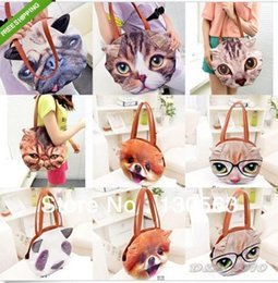 Wholesale Panda Face Bag - Cute 3D Dog Cat Panda Face Pattern Women Handbags Girls Shoulder Bag Purse Totes 1107#07