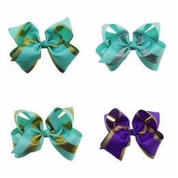 Wholesale Gold Hair Bows - 8 Inch Jojo Bows Gold Shimmery Hair Bows With Alligator Clips Mint Jojo Siwa Style Purple Large Bows for Sale Christmas