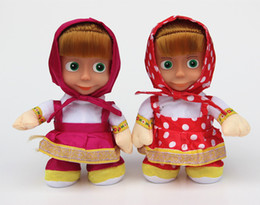 Wholesale Song Electronics - 11inch Masha sing song Italian Language Masha and the Bear Dolls Electronic Toys Musical Doll Educational Baby Toys for Girls
