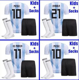 Wholesale boys youth shirts - Argentina KIDS football Jersey 2018 Argentina boys youth kits DYBALA Messi kun Aguero Di Maria Child football shirt uniform with socks