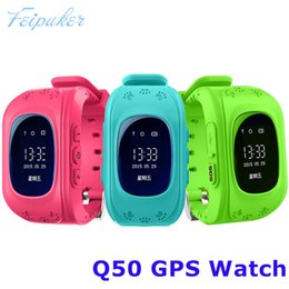 Wholesale Gprs Tracker For Kids - Smart watch Children Kid Wristwatch Q50 GSM GPRS GPS Locator Tracker Anti-Lost Smartwatch Child Guard for iOS Android