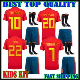 Wholesale Spain Soccer Jersey Kids - kids kit 2018 Spain soccer jersey shorts socks Home red 7 morata 18 19 Ramos ASENSIO ISCO THIAGO boys children sets camiseta de futbol