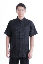 Wholesale Traditional Chinese Silk Dresses - Wholesale-Chinese Men's traditional Silk satin Kungfu clothing dress shirt short sleeves 5 colours Sz: M L XL 2XL 3XL