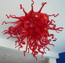 abat-jour pendentif rouge Promotion 100% Soufflé à la bouche CE UL Borosilicate Verre de Murano Dale Chihuly Art Plafond Pendentif Rouge En Verre Abat-Jour