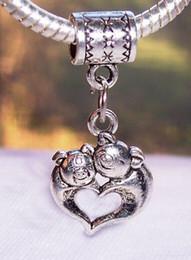 Wholesale European Baby Charms - Hot Sale ! 100 pcs Antique silver Mother Baby Pig Love Heart Hug Dangle Beads Fit European Charm Bracelet 31x14mm (mm22)