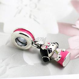 Wholesale Charms Doll Enamel - 2015 New 925 Sterling Silver Korean Doll Dangle Charm Bead with Enamel Fits European Pandora Jewelry Bracelets Necklaces & Pendants