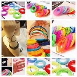 Wholesale Hair Ties Wristbands - Colorful Seamle Hair Ties Simple Style Elastic Holder Headbands Elestic hairbands and silicone rubber bracelet wristbands - 0026HW