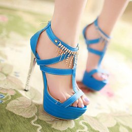 Wholesale Sexy Shoes Small Heels - Sandals Sexy fashion Shoes Woman PU Large size small yards 33 40 41 42 New 2015 high heel 14CM Platform 5CM EUR Size 32-43