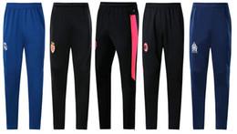 Wholesale wears pants - 18 19 Men Soccer Team Real Madrid Long Pants LYON Football long Trousers Adult Sports Training Wear 2018 AC Milan Soccer Training Long Pants