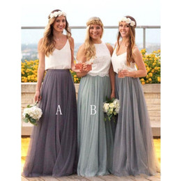 Wholesale Tulle Skirt Long Bridesmaid - 2018 New Country Style Bridesmaid Dresses Tulle Skirt A Line Plus Size Maid Of Honor Wedding Party Guest Gowns Custom Made