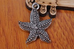 Wholesale Starfish Beads Bracelet - 200 pieces 23mm 3D starfish Pendant Charms 7088 Beads Clasp Components Plated Silver DIY Jewelry Craft Necklace infinity Bracelets Earring