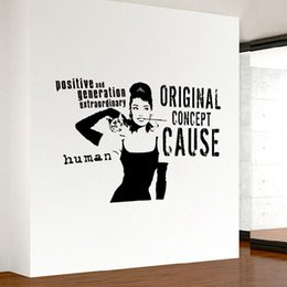Wholesale Hepburn Wall Sticker - audrey hepburn quote wall sticker home decor living room mural vinyl art decals removable stickers for decoration