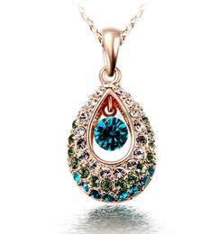 Wholesale Teardrop Necklace Cheap - Hottest Gold Silver Teardrop Crystal Necklace Jewelry Colorful Crystal Rhinestone Necklace Cheap Jewelry collar de cristal