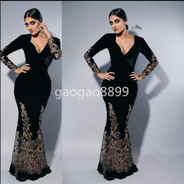 Wholesale Sexy One Pieces Party Wear - Myriam Fares Black Long Sleeve Formal Party Evening gowns Wear Inlay Gold Lace Embroidery V-neck Mermaid Dubai Arabic Prom Occasion Dresses