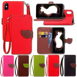 Nota billetera casos de correa online-Funda de cuero TPU para Iphone X Samsung Note 8 Leaf Wallet, con TPU y correa de mano