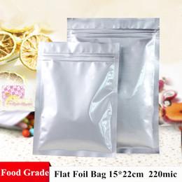 Wholesale Foil Bags Packaging - Wholesale Price 100pcs 15*22cm 220micron Thicken Aluminum Foil Bag Flat Bottom Zip Lock Bag Resealable Packaging Bags