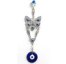 Wholesale Jewelry Make Evil Eye Wholesale - 20pcs lot High Quality Alloy Charms Blue Evil Eye Butterfly Hanging Ornament Charm Pendants Round Car Wall Decoration Jewelry Making