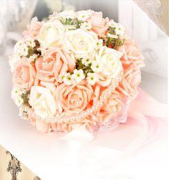 Wholesale Cheap Fake Roses - Vintage Artificial Wedding Bouquets 2016 Flowers Bridal Brooch Bouquet Bridesmaid Flower Bouquet Fake Bouquets Flowers Beading Cheap